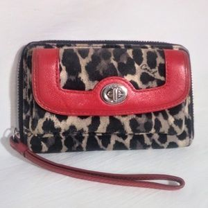 Coach leopard print wallet Wristlet EUC